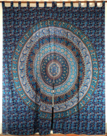 Gordijnen mandala blauw - 230 x 100 cm
