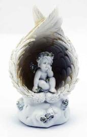 Beeld cherub zittend onder vleugels met ledlicht - 7.2 X 5.5 X 12 cm