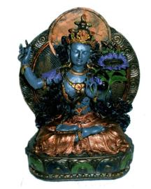 Tara blauwrkleurig met achterblad 21 cm hoog