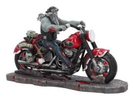 Zombie Biker - Zombie op een Motor - Bikerbeeld - 20 x 9 x 13 cm