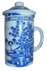 Driedelige porseleinen theemok - 14 x 7 cm - Willow Pattern