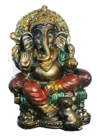 Bronskleurige Ganesha op troon met rat 7 cm hoog