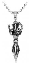 Ganesh met Dharma Vessle ketting 316 titanium staal - 5.5 cm lang