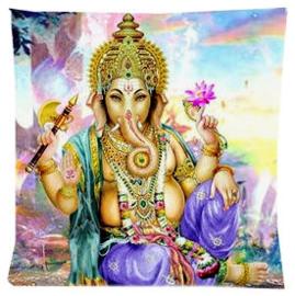 Kussenhoes Ganesha zittend paarse broek - 45 x 45 cm