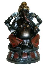 Ganesha op lotus donker metallische kleuren - 14 cm hoog