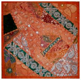 Indiase kussenhoes lapjesdessin oranje dessin 2 - 40 x 40 cm