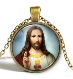 Glazen hanger met ketting Christus dessin 3