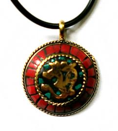 Ketting Tibetan style OHM goud - 3.5 cm doorsnee