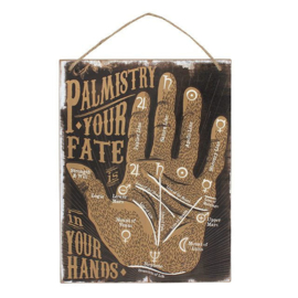 Handlijnkunde  - Your fate in your Hands - wandbord - MDF - 19 x 25 cm