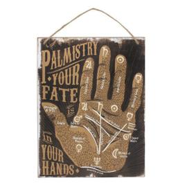 Handlijnkunde  - Your fate in your Hands - wandbord - MDF - 19 x 25 cm