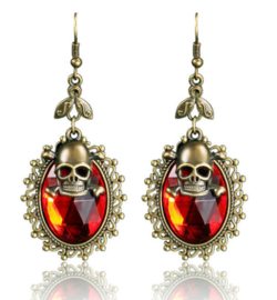 Gothic doodskop vampieren rode cabochon oorbellen 7 cm lang