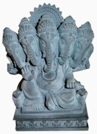 5 koppige Ganesha van hematiet 11 cm hoog