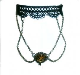 Golden pendant choker  - Gothic zwarte kanten choker
