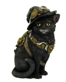 Clockwork Kitty - steampunk kat in heksenhoed - 16.5 cm