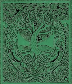 Bedsprei Levensboom / Tree of Life  groen dessin Courtney Davis 240 x 210 cm