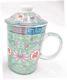 Driedelige porseleinen theemok - 14 x 7 cm - Groen met roze lotus