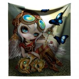 Fluwelen bedsprei woondeken Clockwork Dragonling van Jasmine Griffith - 140 x 160 cm