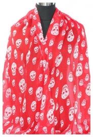 Katoene sjaal rood met doodskoppen