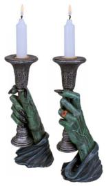 Light of Darkness - paar zombie handen kaarsenhouders - 20 cm hoog