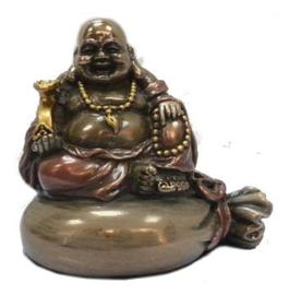 Bronskleurige Happy Boeddha op geldzak - 8 cm hoog