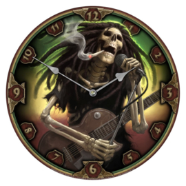 Klok - Dead Dreads - skelet met guitar en stikkie - dessin James Ryman - 34 cm