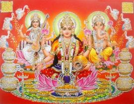 Hindu poster Lakshmi Ganesha Saraswati 1 - 23 x 29 cm
