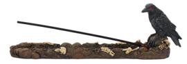 Wierookhouder Raaf op Graf met doodskoppen - 15 cm lang