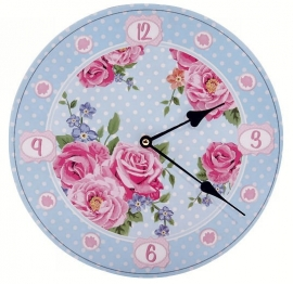 Clock - Laura Bell, Chintz with roses - 30 cm diameter
