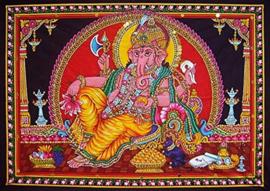 Muurkleed Ganesha Liggend rood achtergrond 108 x 80 cm