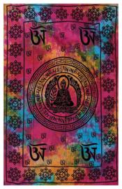 Bedsprei boeddha in cirkel gekleurd - 140 x 215