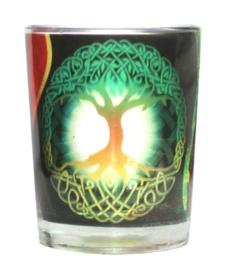 Theelichthouder glas Levensboom - 6 x 5 x 6 cm