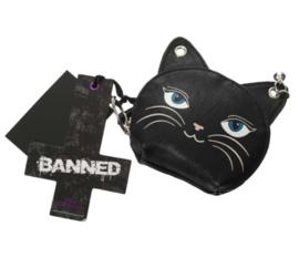 Banned Apparel - Femina Feline - portemonnee met katdessin en sleutelhanger - 9 x 10 cm