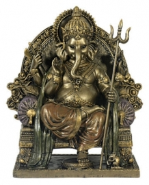 Ganesha bronskleurig beeld - 21 cm hoog 2