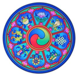 Raamsticker Tibetan Auspicious Symbols  - 14 cm Ø