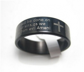 Zwarte stalen ring met Pater Noster gebed (Engels)