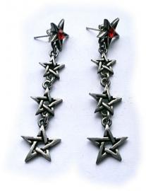Ketting Pentagram - Punk Gothic pewter oorbellen