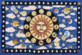 Een persoons bedsprei wandkleed Zon Maan Zodiac 120 x 220 cm
