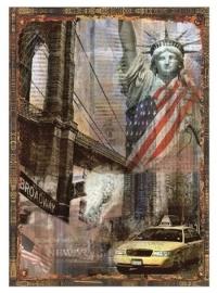 Blikken metalen wandbord shappy chiq New York 20 x 30 cm
