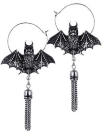 Restyle zilveren vleermuis hoep oorbellen - Oriental Bat