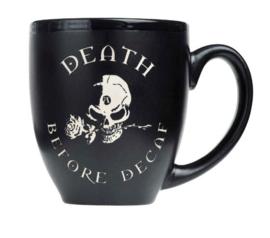 Alchemy of England - zwarte keramieke koffie mok - Death Before Decay - 10,5 cm hoog