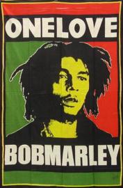 Een persoons bedsprei, wandkleed Bob Marley One Love - 120 x 220 cm