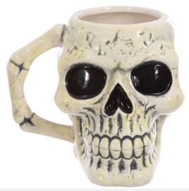 Gothic mok oude doodskop schedel - 10,5 cm hoog