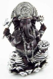 Ganesh Beeld Resin Bruin Zilver 11.5 X 9 X 16 cm