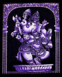 Indiase muurkleed wandkleed Ganesha paars dessin 2 - c.a.  80 x 110 cm