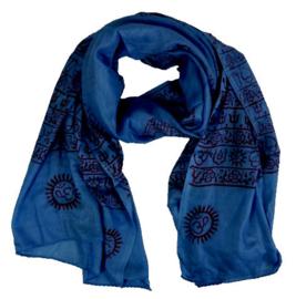 Benares-sjaal Indiaas Hindu Varanasi donkerblauw - 60 x 120 cm