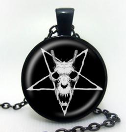 Glazen hanger met ketting Pentagram Baphomet Satanische geitenschedel