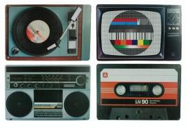 Set van 4 retro nostalgische bord onderzetters - 44 x 29 cm