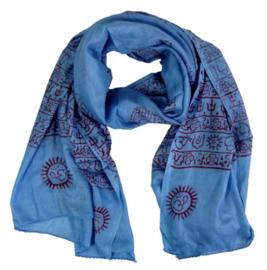 Benares-sjaal Indiaas Hindu Varanasi blauw - 60 x 120 cm