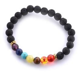 Chakra balancing natuurstenen armband zwart lavasteen en 7 gekleurde semi edelstenen