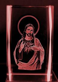 Jezus Christus Heilig Hart Laserblok -  4 x 4 x 6 cm